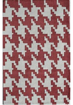 Rugs America 6225A Houndstooth Red