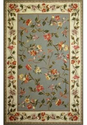 KAS Floral 1728 Slate Blue Ivory
