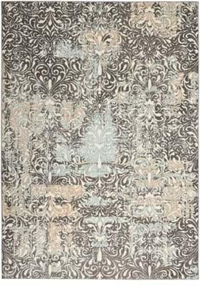 Nourison MRA04 Charcoal Teal Ivory