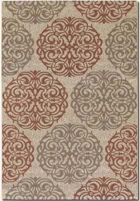Couristan 3089 Montecito 1791 Cream Coral Red