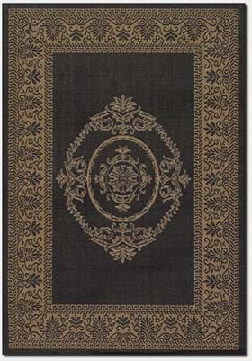 Couristan 1078 Antique Medallion 3115 Black Cocoa