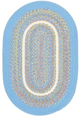 Rhody Rug KI-07 Aqua Blue Banded