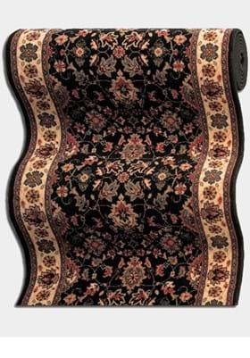 Couristan 0600 Floral Herati B220A Black Teal