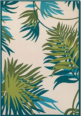 Couristan 2992 Jungle Leaves 0505 Ivory Forest Green