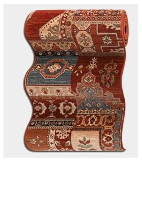 Couristan 4323 Kerman Mosaic 0300A Burgundy Rust