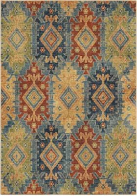 Orian Rugs 4513 Dis. Borego Medallion Light Blue