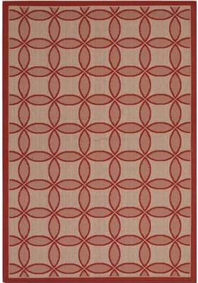 Couristan 3094 Retro Clover 4021 Red Natural