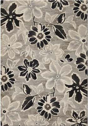 Couristan 6351 Wild Daisy 5313 Grey Black White