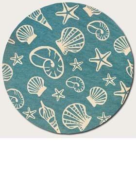 Couristan 7334 Cardita Shells 0220 Turquoise Ivory